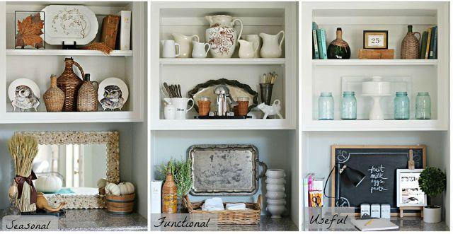 How to Style One Bookshelf Three Different Ways.