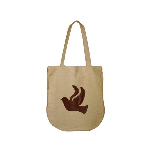 Lniana Torba na zakupy NATURAL BAGS - bird w HANAKO na DaWanda.com