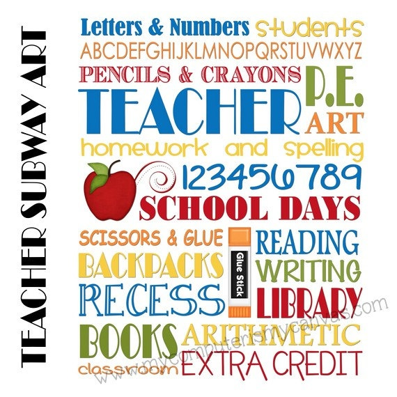 INSTANT DOWNLOAD Teacher School Days Subway Art -  Printable. $5.00, via Etsy.