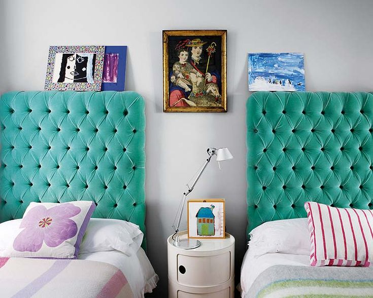 LOVE! These upholstered buttoned plush turquoise fabric bedheads headboards are so freakingly delicious!  Would be amazing in guest room/ boys room, or nursery.  You just can't go wrong with velvet!