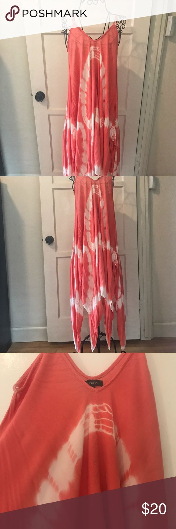 Macy's coral and cream trapeze  dress This dress is great for a beach cover up or a summer day at a BBQ. The color is coral and cream tie-dye Dresses Maxi