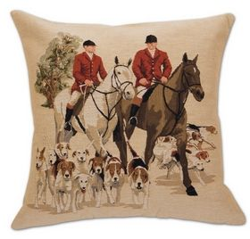 """""""Leading the Hounds"""" - Tapestry Foxhunting Pillow - Equestrian - By Belgium Tapestry at Horse and Hound Gallery - 18"""" Square - $ 84"""