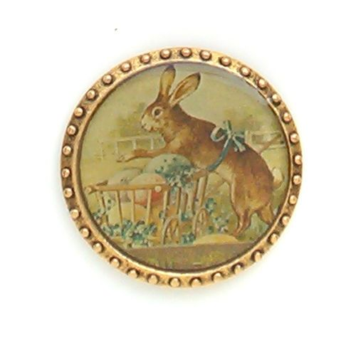 New John Wind MAXIMAL ART Vintage Easter Bunny Basket Eggs Pin Gold Jewelry #MaximalArt