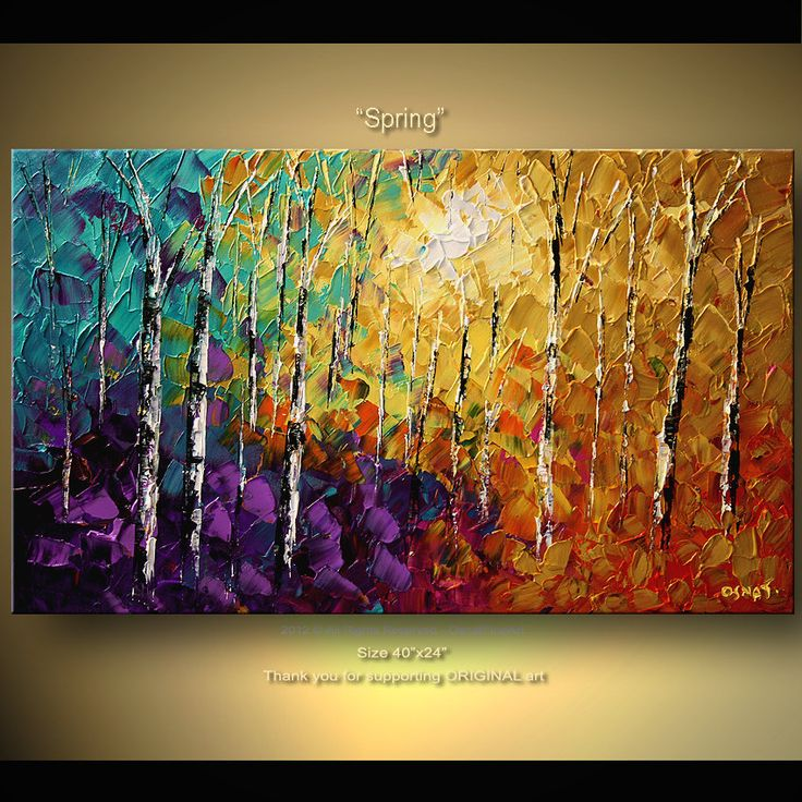 LOVE these paintings.......ORIGINAL Abstract Tree Painting Thick Texture of Birch Trees Painting Acrylic Landscape Painting With Palette Knife By Osnat Tzadok. $350.00, via Etsy.