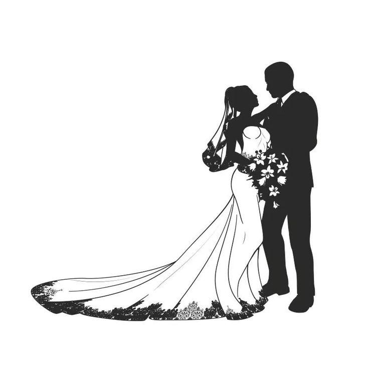 Самая, открытка свадебная силуэты