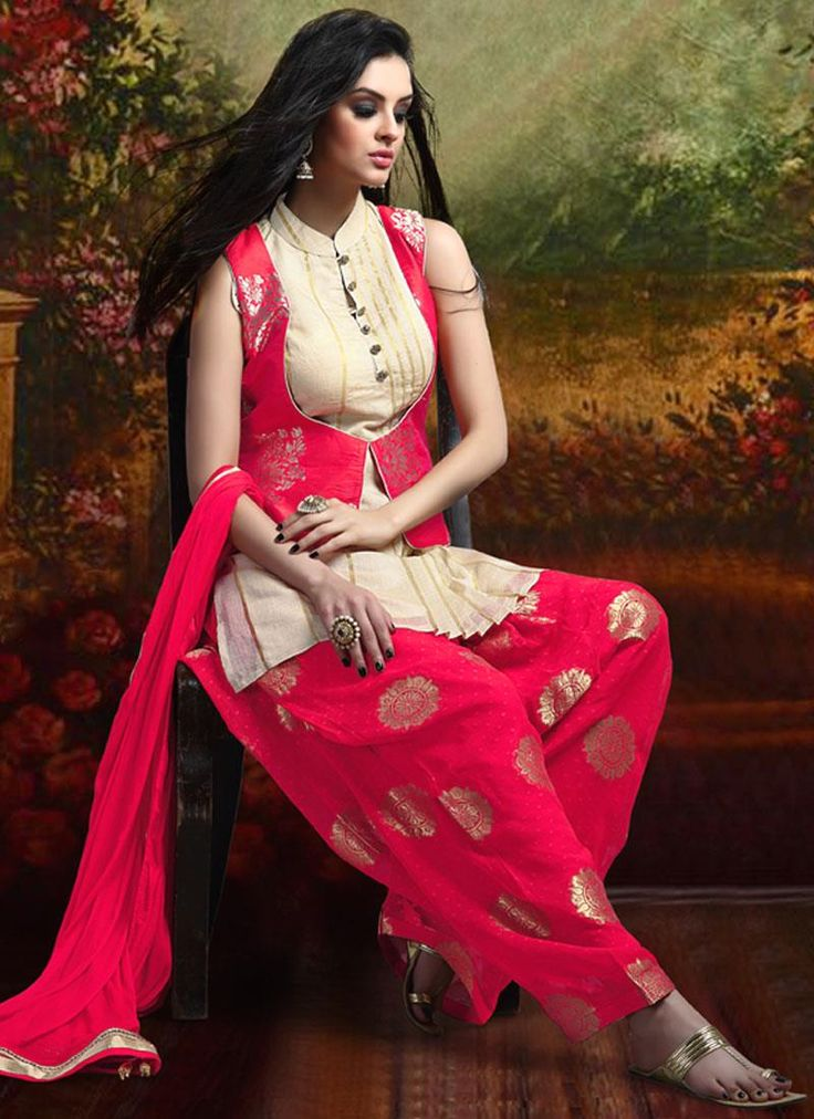We have tempting and eye catching designs of latest salwar kameez. Buy banarasi silk and brocade hot pink readymade suit online at best price.