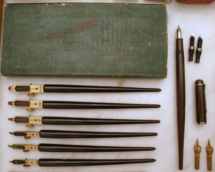 vintage set of lettering pens BARCH-PAYZANT(FREEHAND) LETTERING PENS. A very practical pen for freehand lettering. Form a letter at a single stroke. No dexterity nor knack required.