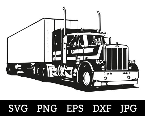 Semi Truck Svg Files For Cricut Vector Images Silhouette Mack Etsy In 2021 Svg Files For Cricut Svg Semi Trucks