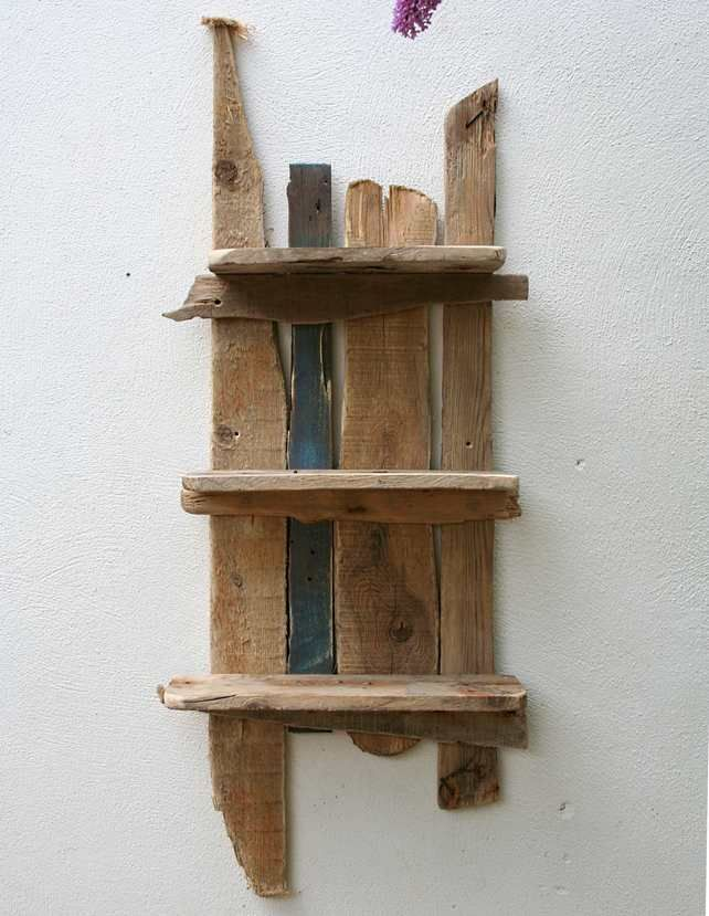Driftwood and reclaimed wood shelves, bathroom, beach hut cute idea for a beach themed home..