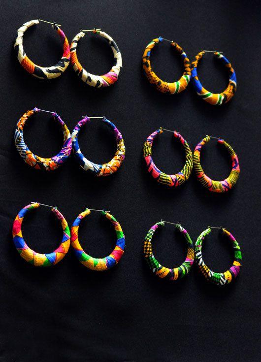Ankara Hoop Earrings ~African fashion, Ankara, kitenge, African women dresses, African prints, Braids, Nigerian wedding, Ghanaian fashion, African wedding ~DKK