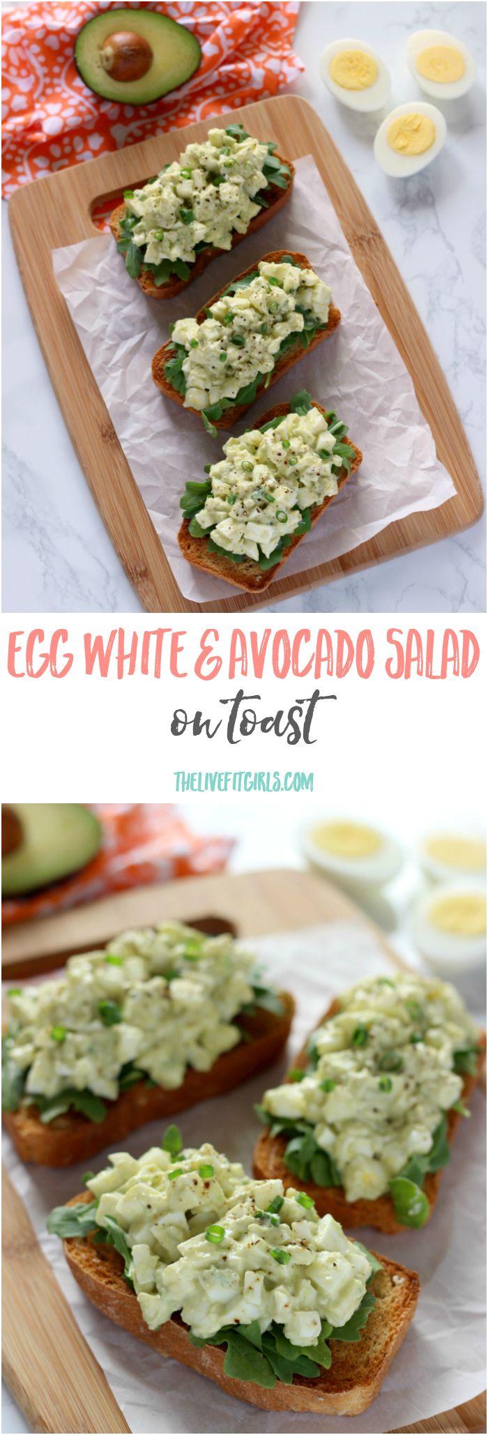 Simple 5 minute egg white & avocado salad...tastes so amazing on fresh baked bread! YUM