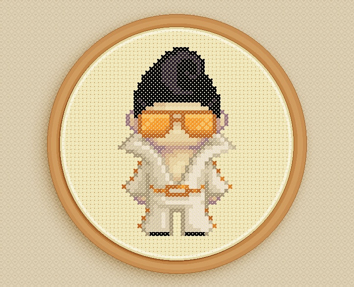 LEROY the ELVIS IMPERSONATOR - A counted cross stitch pattern based on original pixel art by iamnotadoll. $2,50, via Etsy.
