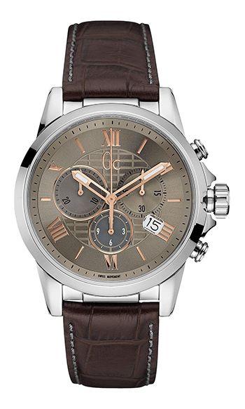 Guess Collection Homme Y08001G1 - Quartz - Chronographe - Cadran en Acier inoxydable Argent - Bracelet en Cuir Marron - Date