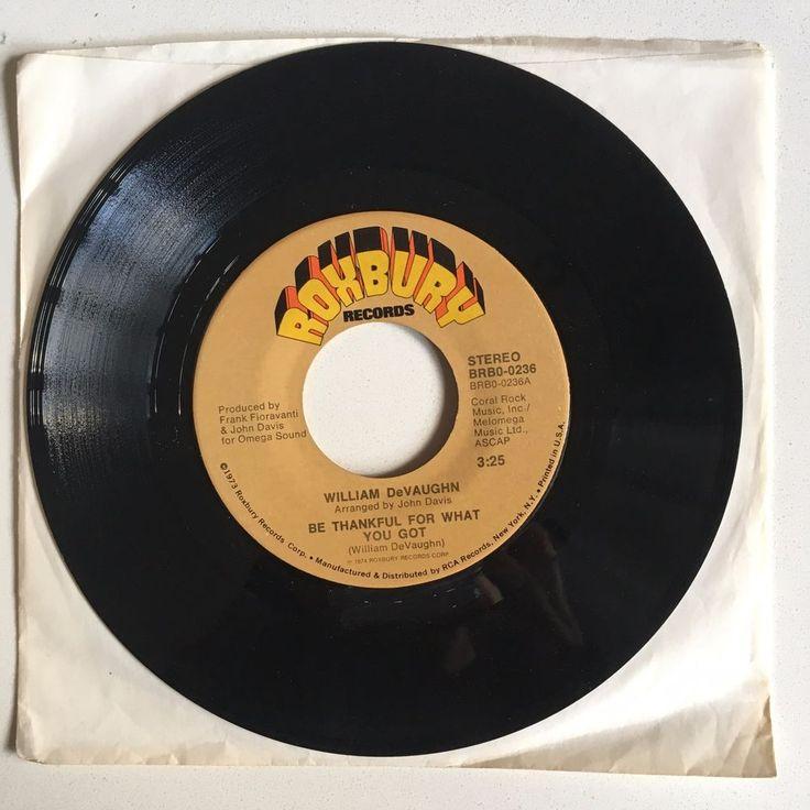 "WILLIAM DEVAUGHN Be Thankful For What 7"" 1974 Roxbury 0236 soul funk classic #ClassicRBFunkSoul"