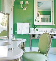 Bright Green Bathroom with Feng Shui Elements