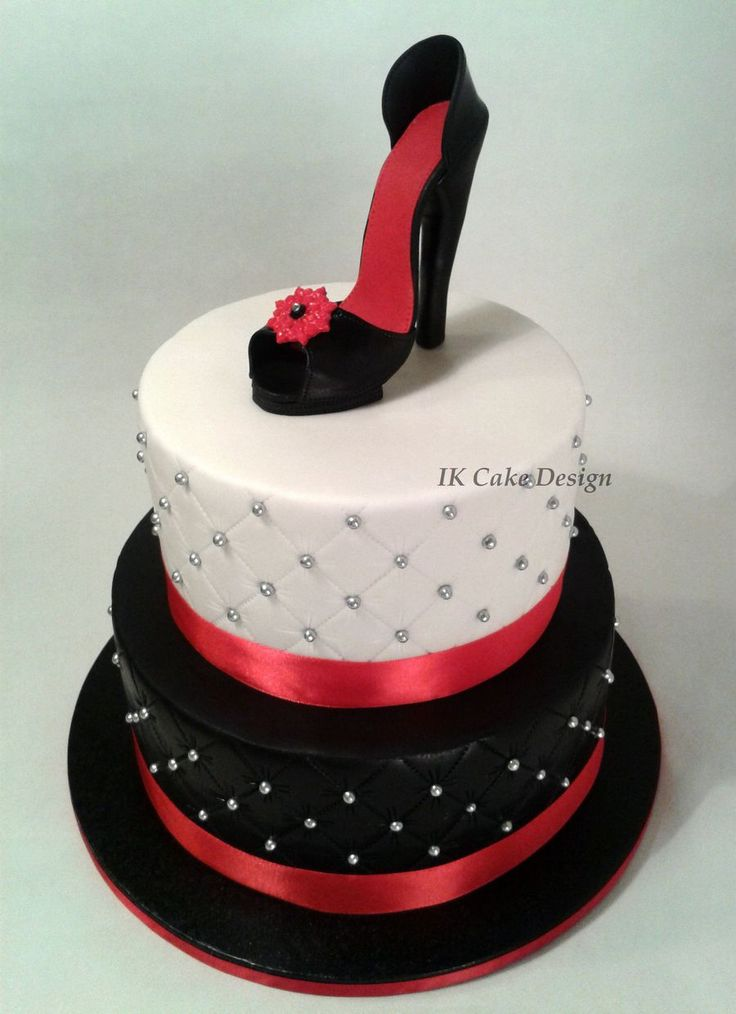 Birthday Cake Designs Shoes : black and white quilted cake topped with a red and black ...