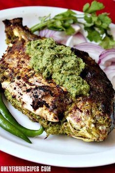 GRILLED STUFFED WHOLE PROMFRET with HARI CHUTNEY ~~~ hari chutney aka green chutney aka mint cilantro chutney [India] [onlyfishrecipes]