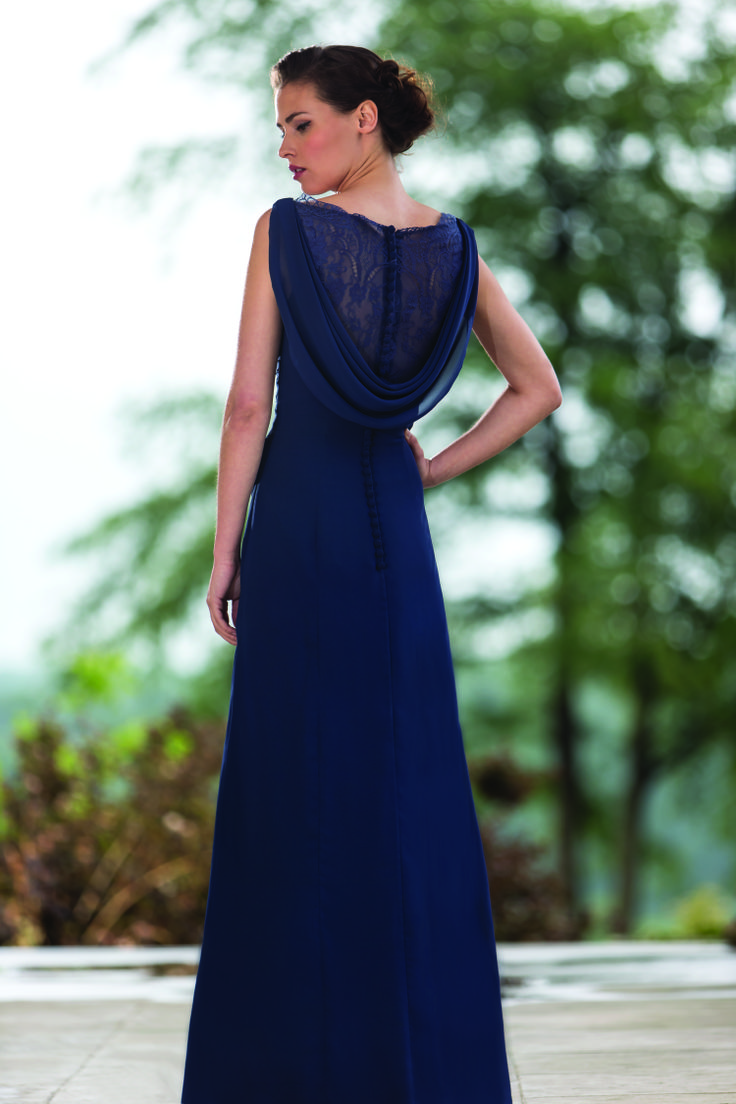 True Bridesmaid M564 Chiffon Gown With Pleaing Across Waist And Pretty Beaded Lace Detail