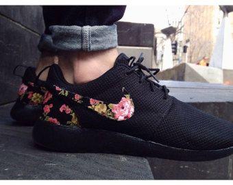 TRIPLE BLACK Floral Nike Roshe Run Custom Black White Roses