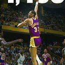 June 2, 1985: Kareem Abdul-Jabbar of the Los Angeles Lakers became the all-time leading scorer in NBA playoff history, surpassing Jerry West's total of 4,457 points, as the Lakers beat Boston 136-111 in Game 3June 2, 1985: Kareem Abdul-Jabbar of the Los Angeles Lakers became the all-time leading scorer in NBA playoff history, surpassing Jerry West's total of 4,457 points, as the Lakers beat Boston 136-111 in Game 3 of the NBA Finals, a series they would win in 6 games. Abdul-Jabbar was…