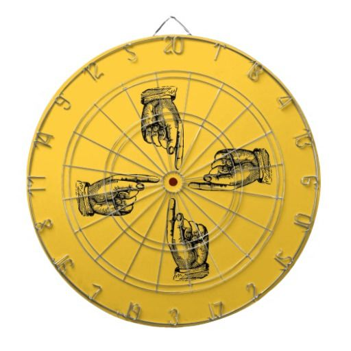 Retro Titled Hands Pointing to Bullseye Pick Color Dartboard With Darts
