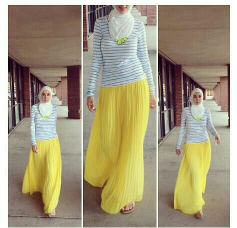 Yellow maxi skirt Hijab