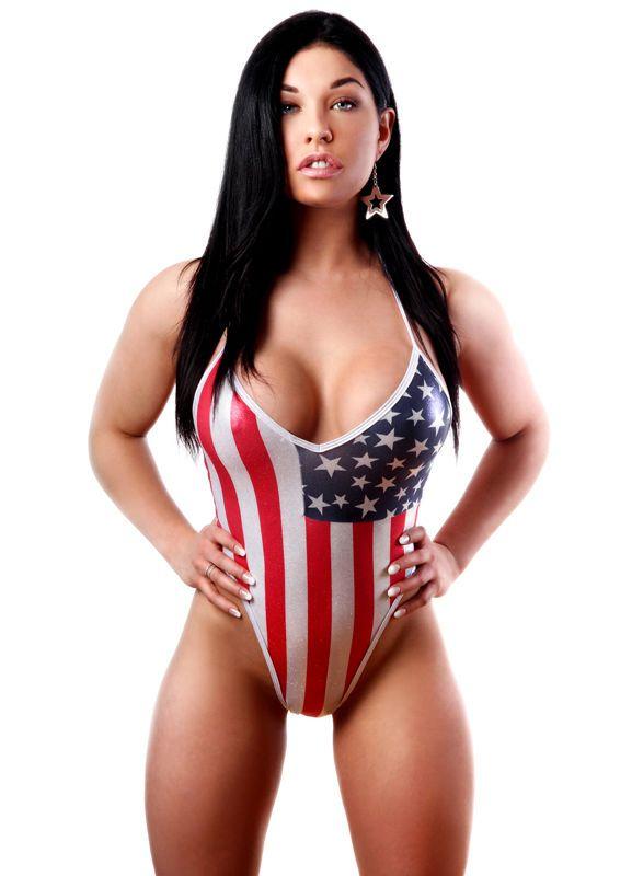 American flag bikini girl stripping
