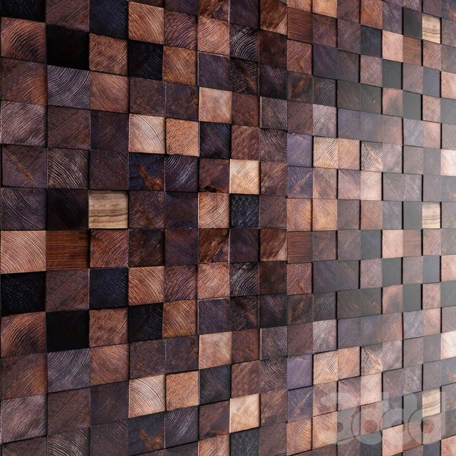 Арт стена. Деревянная мозаика.