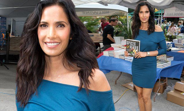 Padma Lakshmi poses with her book Spices