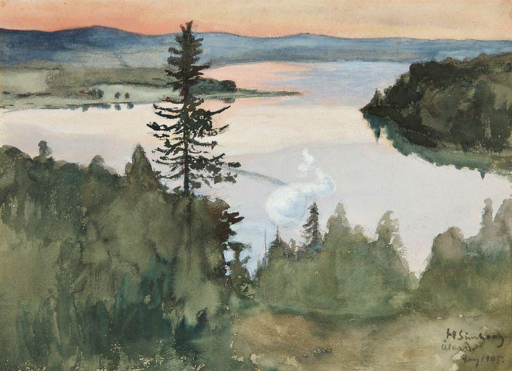 Simberg, Hugo (1873-1917)  Iltarusko Ahvenanmaalla, vesiväri, sign. 1905