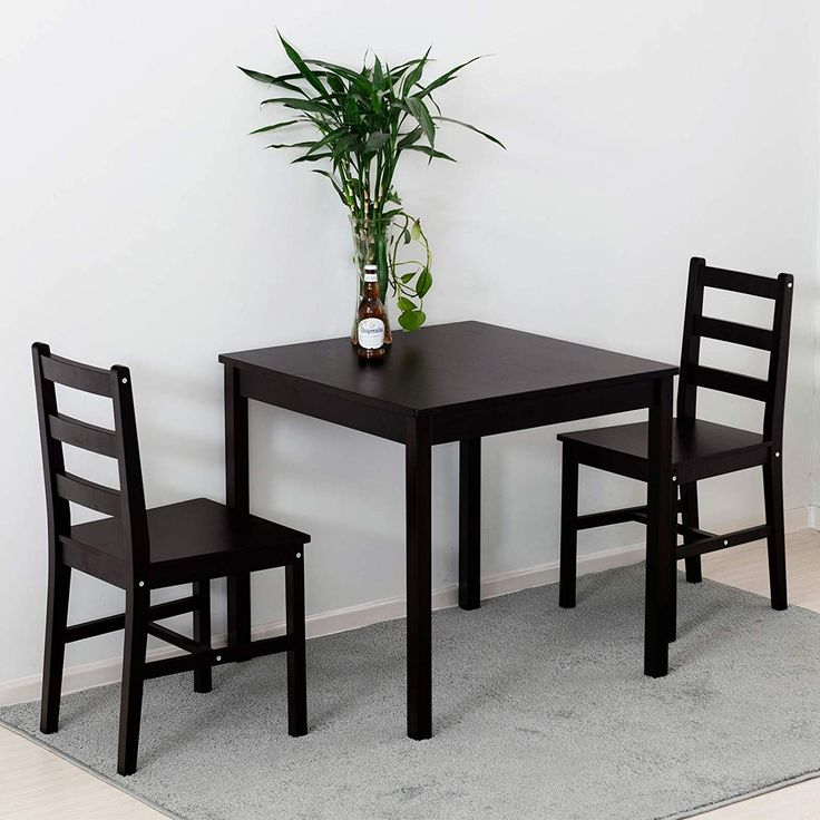 Wooden Kitchen Table Set With 2 Chairs, Small Black Dining Table And Chairs