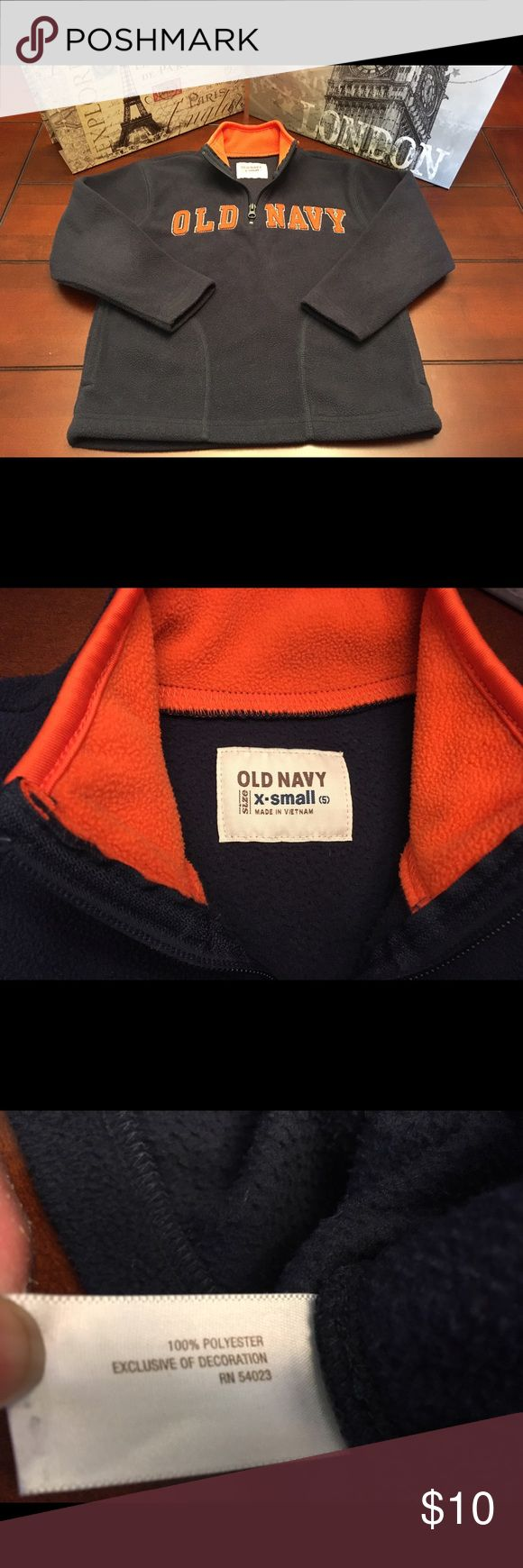 Boys Old Navy Pullover, Navy/Orange-XS Boys Old Navy Pullover, Navy/Orange-XS  Super cute and in great condition except very minor wear to elbows.  Zips partially in front. 100% Poly. Old Navy Shirts & Tops Sweatshirts & Hoodies
