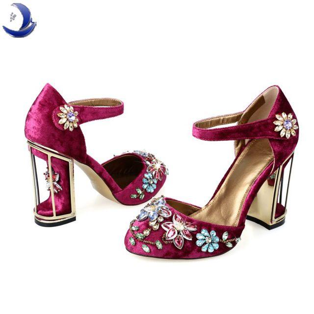 Большой размер весна лето женщина горный хрусталь высокие каблуки обуви свадебная обувь свадебные красный фиолетовый кружева платформа партия обуви для женщин