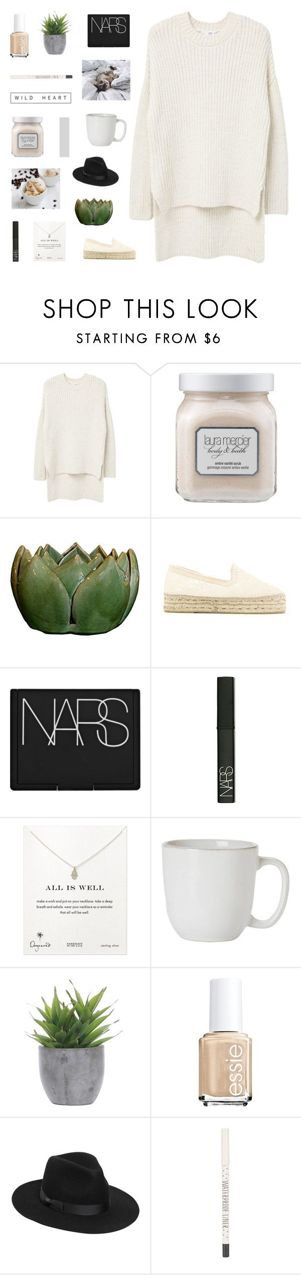 """begin again"" by made-of-starlight ❤ liked on Polyvore featuring MANGO, Laura Mercier, Manebí, NARS Cosmetics, Dogeared, Juliska, Lux-Art Silks, Essie, Lack of Color and Topshop"