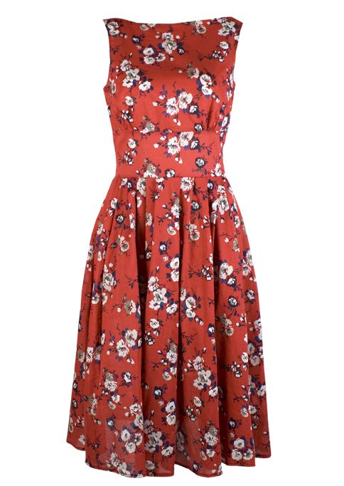 50s Boat Neck Dress - red - 20th Century Foxy