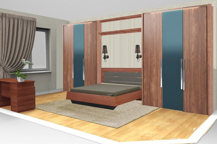 Спальня PARRA. Наполнение - кровать с подъемным механизмом и мягким изголовьем 180 см, два шкафа, ящик-полка у изголовья кровати, комод, туалетный столик и зеркало - 348 тыс