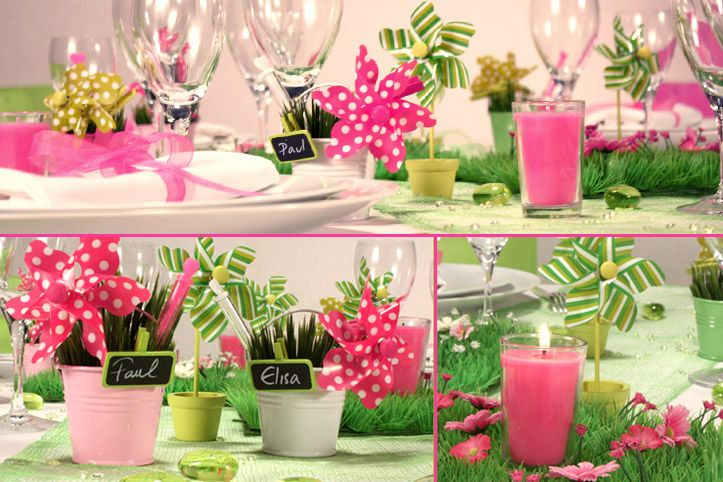 Mariage fuchsia vert anis d corations d 39 ambiance table for Centre de table vert anis