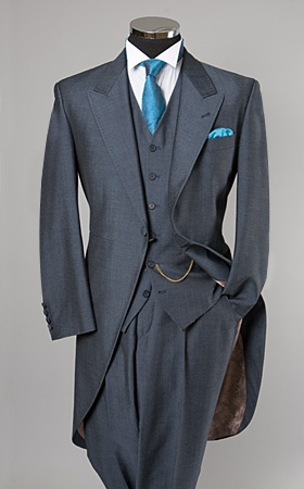William hunt air force blue morning suit with matching waistcoat & peacock accessories