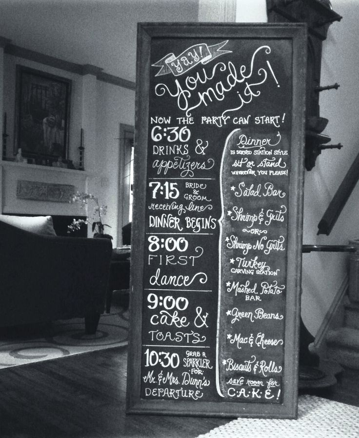 Reception Timeline Menu On 5 39 Chalkboard Calligraphy By