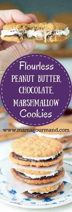Flourless Peanut Butter Chocolate Marshmallow Sandwich cookies have a gluten free chewy peanut butter cookie with chocolate ganache and marshmallow buttercream. http://www.mamagourmand.com via /mamagourmand/