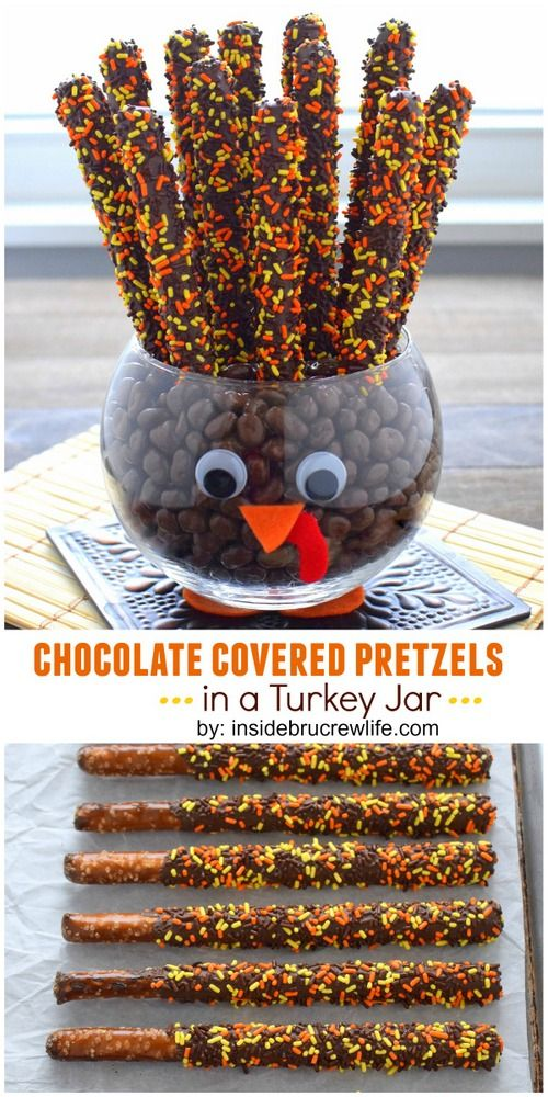 Chocolate covered pretzels in a turkey jar.