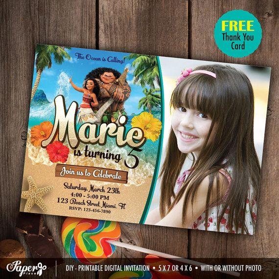 Moana Invitation and free thank you card, Printable Invites, Moana Birthday invite, any age, Vaiana Invitations, Moana Party, DIY