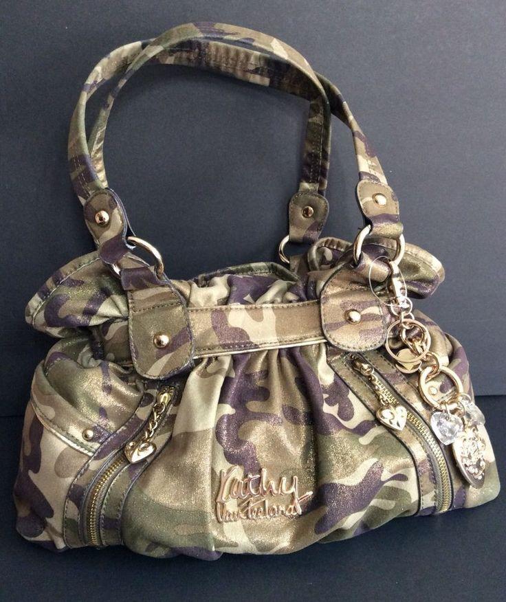 KATHY VAN ZEELAND Camouflage Fabric Hobo Bag Double Handle Handbag Key Clip Love #KathyVanZeeland #Hobo