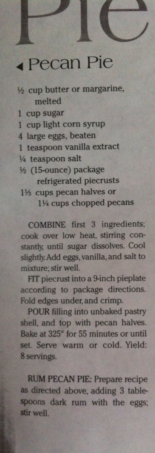 Southern Living Pecan Pie
