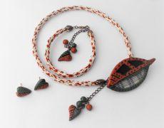 Frunza - Polymer Clay Jewelry Set, Modern jewelry set, Organic jewelry set, Contemporary jewelry set