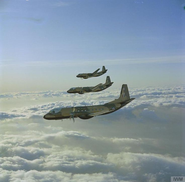 Hawker Siddeley Andover C.1s of No 46 Squadron flying in echelon starboard from their base at RAF Abingdon, Oxfordshire, in Transport Command.