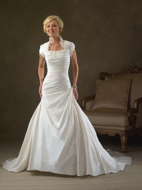 Ive Already Been Hitched But I Love This Queen Anne Neckline Dress Modest Wedding