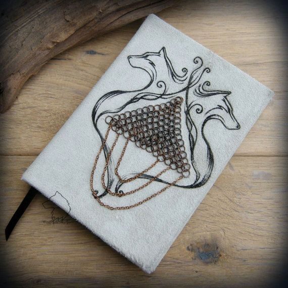 ARMOURED WOLVES leather journal A6 size one of a kind