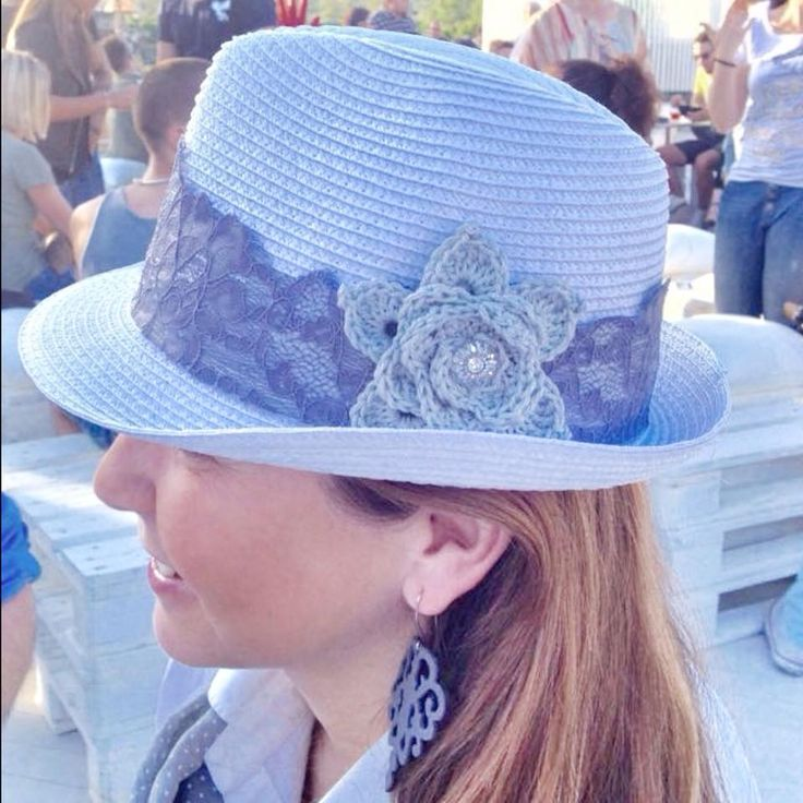 Fedora hat with lace, crochet flower and vintage button