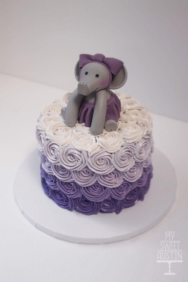 Purple Elephant Baby Shower Rosette Cake | @my_sweet_austin |  Www.mysweetaustin.com